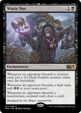 M15 Core Set Spoilers Waste Not Wall Of Fire New Card Frame